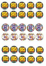 50TH BIRTHDAY EDIBLE RICE WAFER PAPER CUP CAKE TOPPER X30
