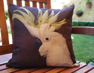 Cotton Linen Cushion Cover Pillow Case Australian Bird White Cockatoo -Exclusive