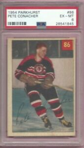 1954 Parkhurst hockey card #86 Pete Conacher, Chicago Blackhawks graded PSA 6