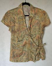 Van Heusen Studio 100% Cotton Cross Over Blouse Size L Cap Sleeve Side Tie