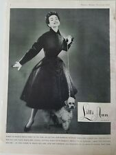 1954 Lilli Ann womenS wool Alaska seal coat poodle dog vintage clothing ad AS IS