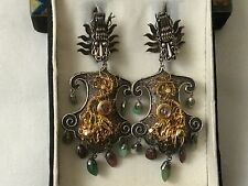 Large Antique Chinese silver and gold gilding filigree Earrings