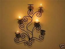 French Iron Scrolls 6 Candle Sconce Holder Wall Decor Antique Brown