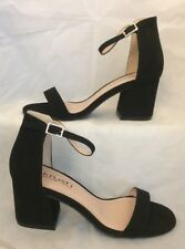 Black heels Size 3 Strappy Barely There Faux Suede
