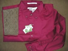 2XL RH BROWN Microsuede Pad BURGANDY Long Sleeve Button Front Shooting Shirt