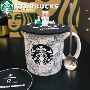 Starbucks Cute Bear Ceramic Cup set Coffee Mug w/ lid spoon coaster Sakura Gifts