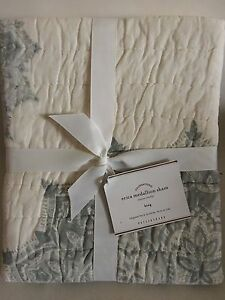 NEW Pottery Barn 2 PC Erica Medallion Quilted Cotton Pillow Sham Cover King $59