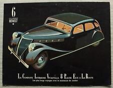 RENAULT VIVASTELLA Car Sales Leaflet c1935 FRENCH TEXT