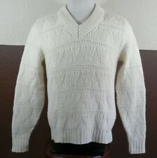 VTG Pendleton Wool Made in USA Sweater XL Cable Knit Pullover V Neck Cream