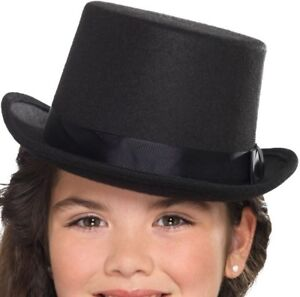 Childs Top Hat Kids Childrens Fancy Dress Boys Girls Topper Hat Black Smiffys
