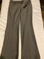 Express 4R Gray Herringbone Editor Wide Waistband Flare Stretch Dress Pants