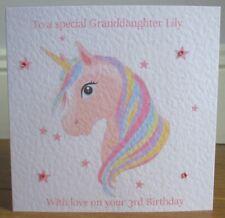Rainbow Unicorn Personalised Birthday Card Granddaughter Daughter Niece Sister