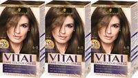 Schwarzkopf Vital Colours 6-0 Light Brown Permanent Hair Colouring Dye X3