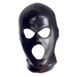 Head 3 Holes Mask For Halloween Carnival Wet Look Hood Headgear Role Play Unisex
