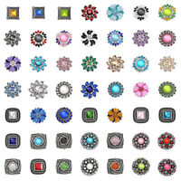 3D 18mm Rhinestone Drill Snaps Chunk Charm Button  For Noosa Leather Bracelets 9