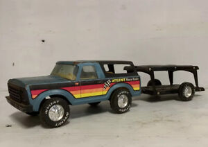 NYLINT RACE TEAM TRUCK with TRAILER Vintage Tin Toy Model