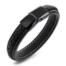 Beau Bracelet Pour Hommes En Cuir Noir Magnétique Clips Stainless Steel Mode Ado