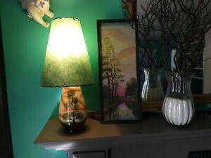 Vintage Retro Tree  MID-CENTURY MODERN Lamp & FIBERGLASS SHADE Light RETRO cabin