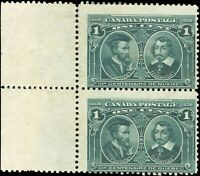 1908 Mint NG Canada F Pair of Scott #97 1c Quebec Tercentenary Issue Stamps