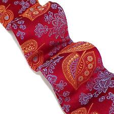 IKE BEHAR Red Gold Orange Blue Leaves Flowers Self-Tipped Woven Silk Tie NWOT