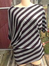 1955 Vintage Asymetrical Striped Stretch Top 8% Linen womens Xl