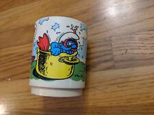 Vintage Smurfs Plastic Deka Cup Mug 1980 Peyo Smurfette Snorkel Cartoon 1980s