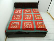 EMBROIDERY PATCH WORK KING SIZE BEDSHEET BED COVER TREE OF LIFE TAPESTRY