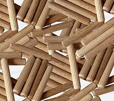50 x 6mm x 40mm HARDWOOD DOWELS GROOVED FLUTED PIN WOODEN WOOD BEECH DOWEL