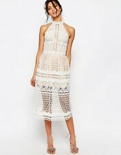 Jarlo Selma Halter Neck Cut Out Lace Midi Dress Ivory Sz XXS 6 $202 NWT
