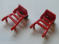 Lego 2 chariots rouges set 6561 7637 6337 4558 / 2 red hand truck complete