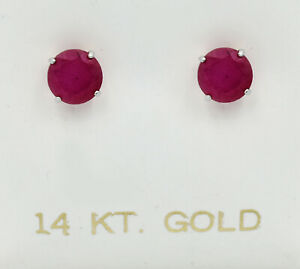 GENUINE 2.24 Cts RUBIES STUD EARRINGS 14K WHITE GOLD *Free Certificate Appraisal
