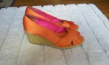 (Chaps)  Strap Open Toe   Wedge Shoes   (Orange) Size 6