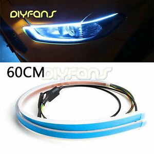 2X 60CM Slim Amber Flexible LED DRL Turn Signal Strip for Headlight AHS
