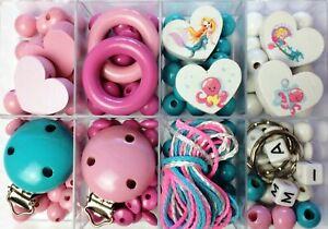 DIY Bastelbox Meerjungfrau Nixe für Schnullerketten - auch mit Buchstaben Name