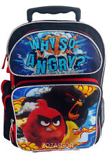 "Angry Birds 16"" Large School Rolling Backpack Rolling Bag Red Bird NEW Style!"