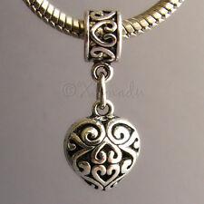 1PC Fancy Filigree Heart Dangling Charm Bead For European Style Charm Bracelets