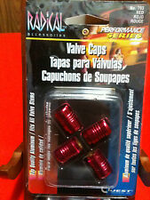 Tire Wheel Air Valve Valves Cap Caps Red Universal set ** RED BILLET ALUMINUM **