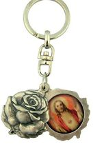 MRT Key Chain Ring Sacred Heart Immaculate Mary Silver Plate Saint Locket Gift