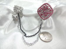 Two Finger Pink Crystal Stretch Ring  & Size 9 Swirl Ring W Heart Dangles
