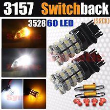 3157 SRCK Socket 60SMD LED White/Amber Yellow Switchback Turn Signal Light Bulbs