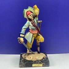 Carrara Italy marble figurine pirate peg leg sword parrot statue depose captain