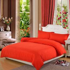 Solid Quilt Cover Pillow Case Duvet Cover Bedding Set Single Double Zipper