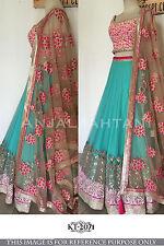 Bollywood Designer Party Wear Blue & Pink Color Unstitched Lehenga Choli