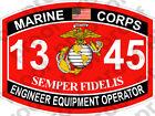 STICKER USMC MOS 1345 ENGINEER EQUIPMENT OPERATOR ooo USMC Lisc No 20187