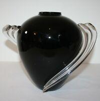 "Art Deco Black Blown Glass Vase Clear Swirled Sides 11"" x 8"" x 9"""