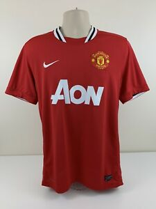 Nike Manchester United Red Jersey Mens Size L Large Dri Fit Soccer Authentic EUC