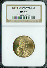 2007-P SACAGAWEA DOLLAR NGC MS67 BUSINESS STRIKE SPOTLESS *
