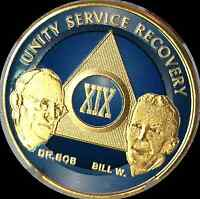 AA Founders 19 Year Chip Gold Plated Blue Alcoholics Anonymous Medallion Coin