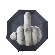 Funny Gifts Middle Finger Pattern Folding Windproof Sun Protection Rain Umbrella