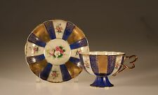 Shafford Footed Cobalt Blue and Gold Floral Panels Footed Cup and Saucer, Japan
